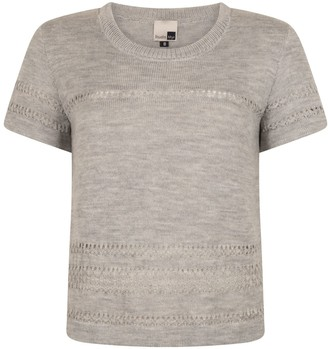 Studio Myr Short Sleeve Merino Jumper With Lace Details Sweety - Natural Grey