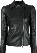 Emporio Armani zip up jacket - women - Lamb Skin/Polyester/Spandex/Elastane/Viscose - 48