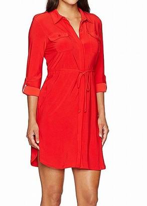 Notations Women's Petite Solid 3/4 Sleeve Shirt Dress