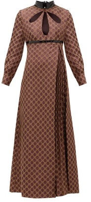 Gucci Cutout Gg-jacquard And Lurex Cotton-blend Dress - Brown