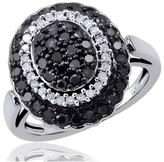 Ice 1 CT Baguette Black and White Diamond Sterling Silver Oval Halo Ring by JewelonFire