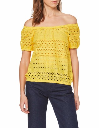 Dorothy Perkins Women's Yellow Ao Broderie Ss Gypsy Top T-Shirt