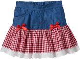 Nannette Baby Girl Gingham Drop-Waist Chambray Skirt