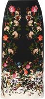 Erdem Maira Floral-print Silk Crepe De Chine Skirt - Black