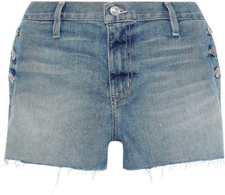 Current/Elliott The Skiff Button-detailed Distressed Denim Shorts