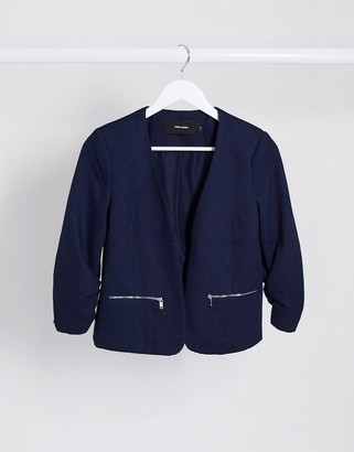 Vero Moda zip pocket blazer in navy