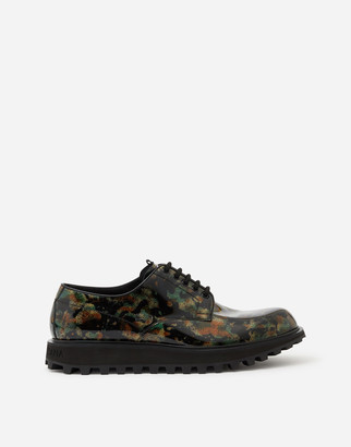 Dolce & Gabbana Military Print Derby In Patent Leather With Embroidery And Extra Lightweight Bottom