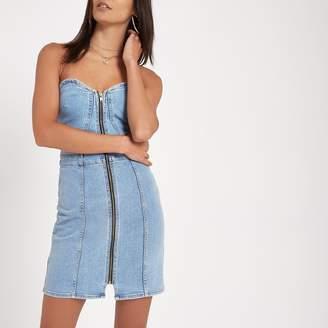 River Island Womens Blue denim fitted mini dress