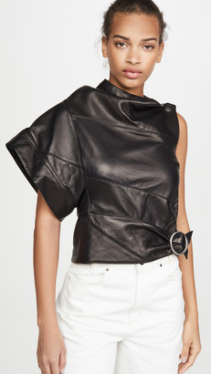 3.1 Phillip Lim Leather Asymmetrical Gathered Ring Top