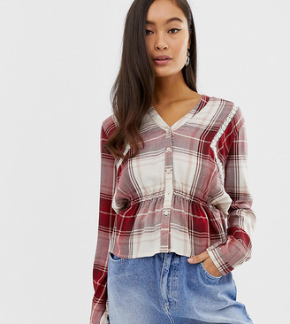 Miss Selfridge shirt with lace insert in red check