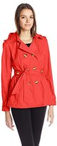 Madden-Girl Women's Double Breasted Medium Length Hooded Trench Coat