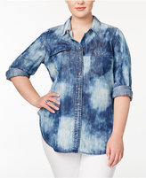 Melissa McCarthy Trendy Plus Size Cotton Tie-Dyed Denim Shirt