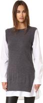 DKNY Pure Poplin Sleeve Tunic Sweater