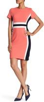 Sandra Darren Colorblock Crepe Short Sleeve Dress