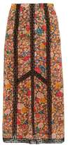 Etro Lace-insert Floral-print Crepe Skirt - Womens - Pink Multi