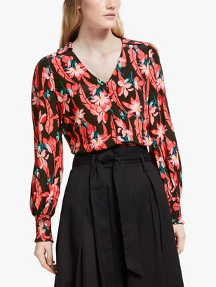 Somerset by Alice Temperley Carnival Floral Print Blouse, Black/Multi