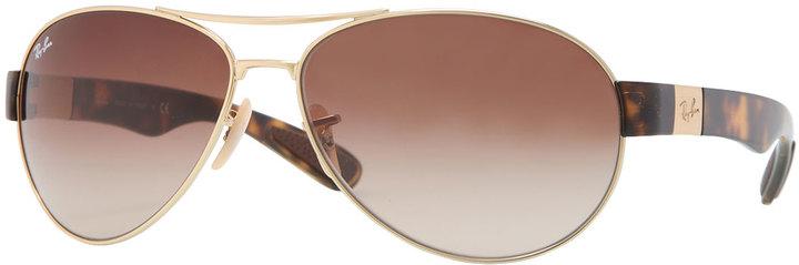 Ray-Ban Metal Pilot Sunglasses, Golden/Brown