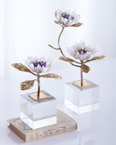 John-Richard Collection Double Crystal Bloom Floral Sculpture