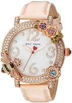 Betsey Johnson Women's Quartz Metal and Leather Casual Watch, Color:Pink (Model: BJ00599-03)
