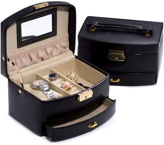 Bey-Berk Leather 2-Level Jewelry Case