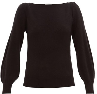 Roche Ryan Boat-neck Balloon-sleeve Cashmere Sweater - Womens - Black