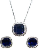 Bijoux De Ja Set of Stainless Steel Created Gemstone Cushion Stud Earrings and Pendant Chain Necklace 17 Inches (Sapphire )