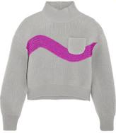 Vika Gazinskaya Cropped Embroidered Ribbed Wool Sweater - Gray