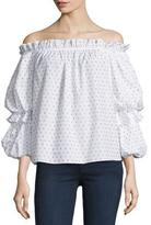 Caroline Constas Gia Off-The-Shoulder Swiss Dot Top