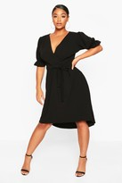 boohoo Plus Puff Sleeve Self Belted Midi Dress