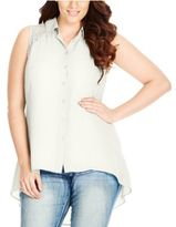 City Chic Trendy Plus Size Lace-Back Blouse