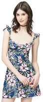 Aeropostale Womens Prince & Fox Tropical Ruffle Dress Blue
