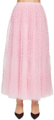 Ermanno Scervino Tulle Midi Skirt W/eyelet Details