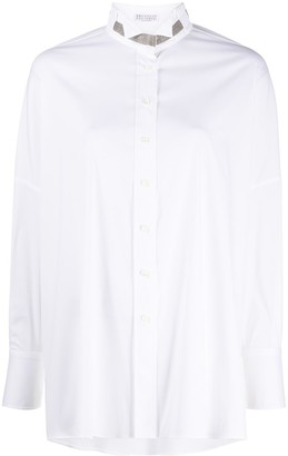 Brunello Cucinelli Brass-Embellished High-Collar Shirt