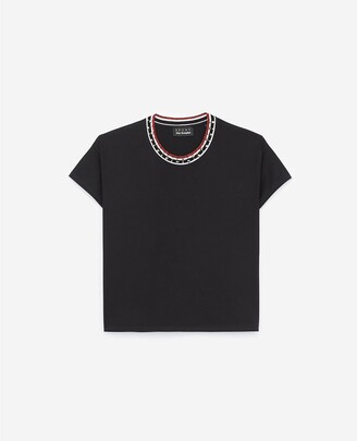 The Kooples Black, rock-style cotton T-shirt with lurex
