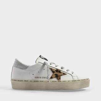 Golden Goose High Star Sneakers In White Leather, Lurex Detail And Leopard Star