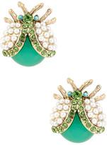 Betsey Johnson Flower Child Pearl Bug Stud Earrings