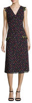 Anna Sui Cats And Bell Flower Midi Dress