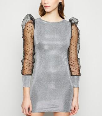 New Look Urban Bliss Glitter Organza Sleeve Dress