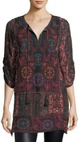 Tolani Adora 3/4-Sleeve Embroidered Printed Tunic, Plus Size