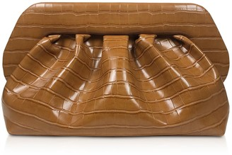 Themoirè Themoire Brown Croco Embossed Eco-leather Pouch Bag
