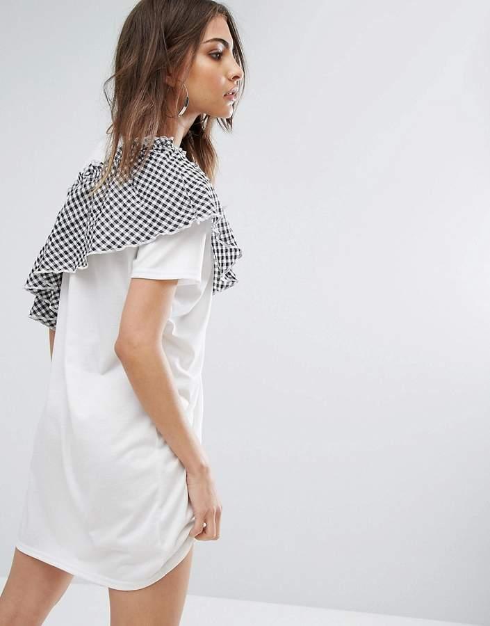Daisy Street T-Shirt Dress With Gingham Ruffle