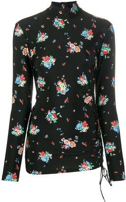Paco Rabanne Floral Print High-Neck Top