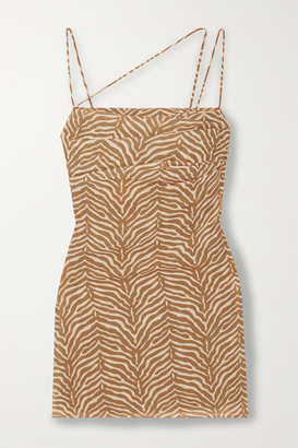 De La Vali Frisco Ruched Tiger-print Georgette Mini Dress - Taupe