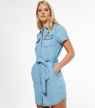New Look Button Up Denim Mini Dress