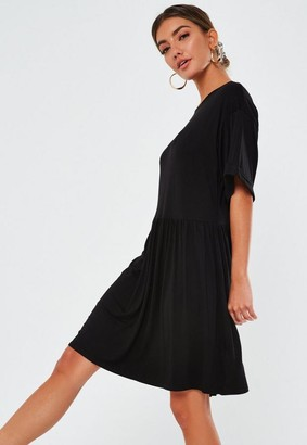 Missguided Petite Black Jersey Smock Dress