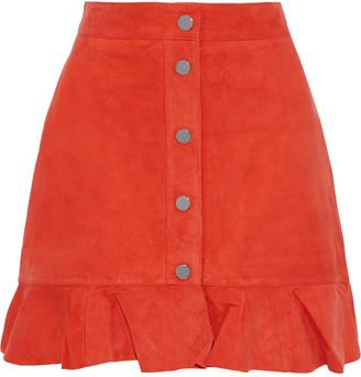 Ganni Salvia Ruffle-trimmed Suede Mini Skirt