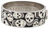 Alexander McQueen Wide Enamel Skull Hinged Bracelet