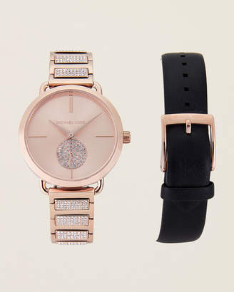 Michael Kors MK2776 Rose Gold-Tone Portia Watch & Bracelet Set