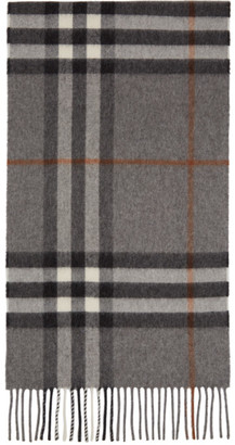 Burberry Grey and Tan Cashmere Giant Check Scarf