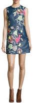 Diane von Furstenberg Floral-Print Leather Sleeveless Shift Dress, Blue Multicolor
